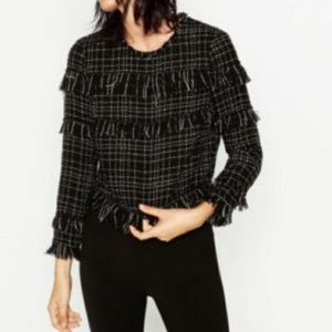 Zara frayed fringe tweed top black Donna Small NWT